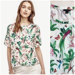 Ann Taylor silky bird print shirt sleeve blouse S